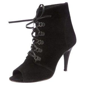 IRO | Black Suede Lace Up Peep Toe Booties